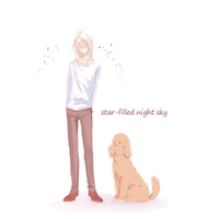 Doujinshi - Yuri!!! on Ice / Yuuri & Victor & Makkachin (star-filled night sky) / キャンバス
